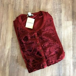 Lucky Brand With Velvet Textured Bodice Popover
